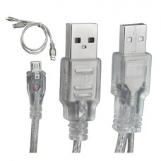 2 in 1 HDD Hard Drive USB 2.0 A male to A Male + Micro 5pin Male Plug Data Y Kablo - 60/20CM