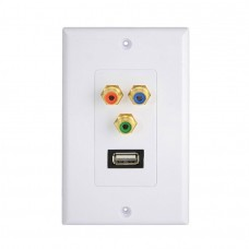 USB 2.0 Port  3 RCA/PHONO Female Gold Wall Outlet Dual Audio Socket Face Plate ABS